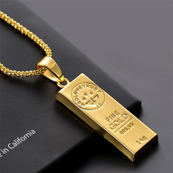Collier en acier inoxydable Iced Out Golden Bar forme pendentif boîte ronde chaîne Fortune charme collier Hip Hop Mens cadeau de Noël