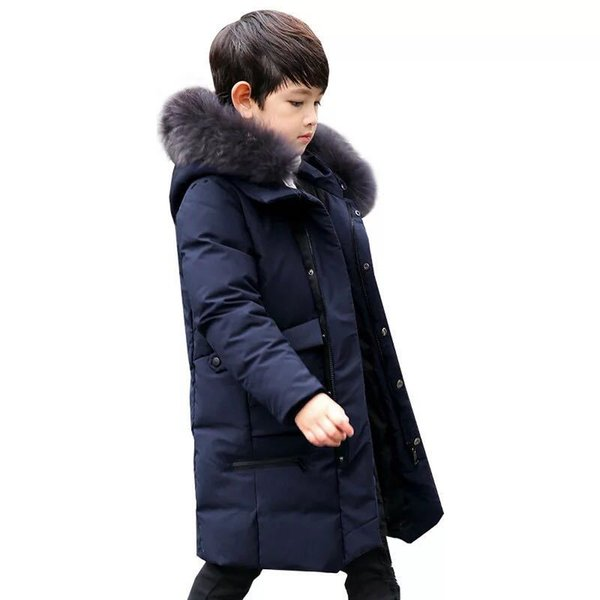 Boys Winter Jacket Parkas Duck Down Jacket Kids Thick Warm Big Girls Winter Jackets with Fur Coats Teenage Boys Clothing 14 Year