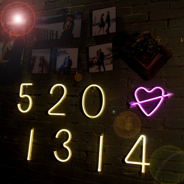 USB/Battery Operated PVC Neon Night Light Halloween Christmas Birthday Wedding Party DIY Letter Lamp Kid's Room Decoration With Hook to Hang