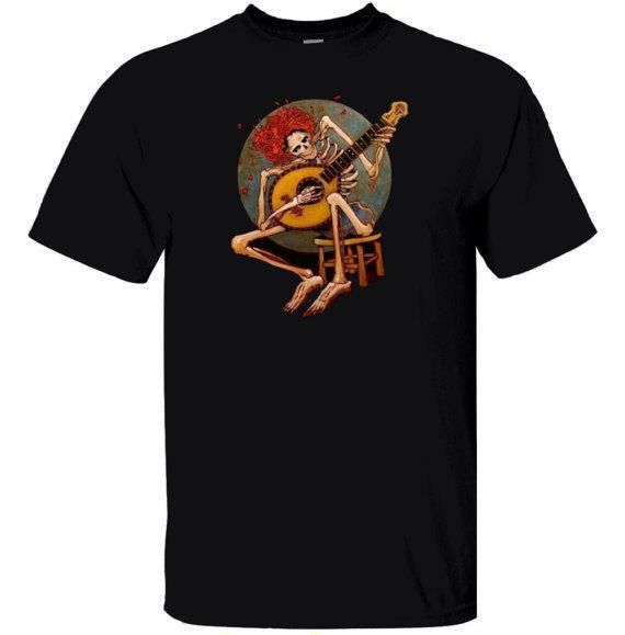 2018 New Fashion Clothing Design O-Neck Grateful Dead Skeleton Playing Guitar Short-Sleeve Mens T Shirts