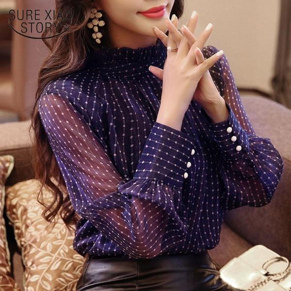 Nueva llegada 2018 blusa de primavera mujeres de manga larga camisa de moda blusa suelta de la oficina de la señora ropa D468 30