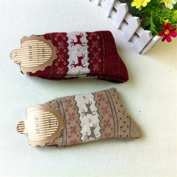 Winter Women Socks Warm Anklet Wool Christmas Socks Woolen Snowflake Deer Comfortable Gift 10 Pairs Free Shipping