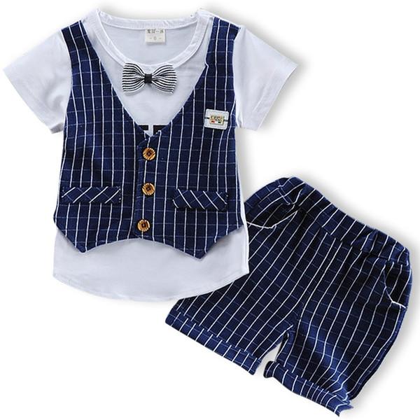 Fashion Baby Boys Clothes Set Short Sleeve Plaid Gentleman Suit for Boys Children Clothing Cotton Costume for Kids Suits