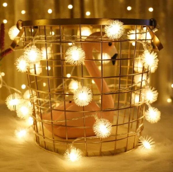 Christmas Lights White.2018 Christmas Lights Hairy Ball Lamp String Snow Ball Dandelion Shape Christmas Outdoor Lighting Battery Lights Modern Concise And Fashion String