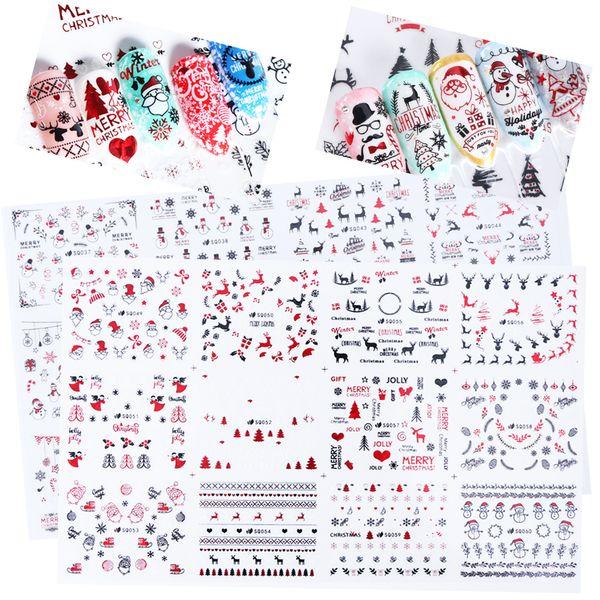 12Design Laser De Noël 3D Nail Sticker Set Le Père Noël Nail Transfer Decal Adhésif Feuille Foil Tips Manicure Access SASQ037-060