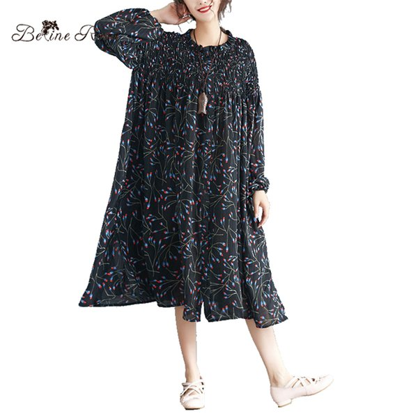 BelineRosa 2018 Oversized Dress for Women Black Color Floral Printed Raglan Sleeve 4XL 5XL 6XL Plus Size Women Clothing 72B00002