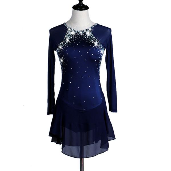 Vestito da pattinaggio di figura Vestito da pattinaggio su ghiaccio per bambina da donna Royal Blue Spandex Strass Stretchy Performance Wear Handmade