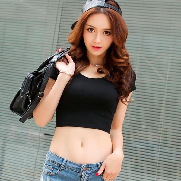 Wholesale-High Quality Women Summer Tees Cotton Shirt O Neck Short Sleeve Slim Crop Top High Waist Women Tops Black White Gray T-shirt