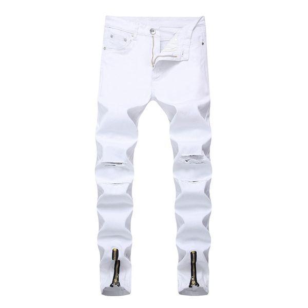Men's Biker Jeans Men White Hole Side Zipper Ripped Denim Pants Mens Skinny Jeans Cotton Trousers