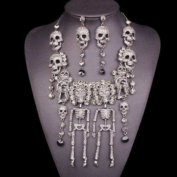 Individuality Rhinestones Skeleton Necklace Earrings Sets Vintage Skull Jewelry Sets Retro crystal Jewellery Set Gift for Women