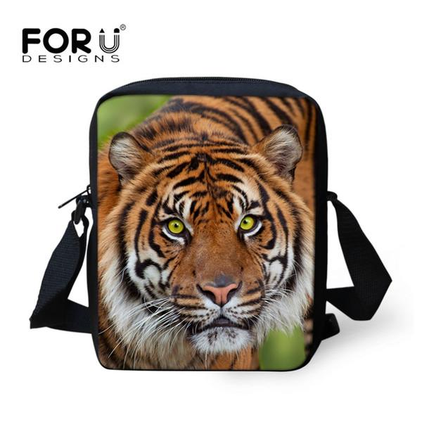 FORUDESIGNS Men Message Bags Tiger 3D Printing Crossbody Bags Fashion Mini Bag for Teenager Boys Male Phone Package Totes Bolsa