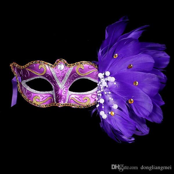 Maschera mascherata DLM2 Maschera di piume colorate di Natale 2020 Maschera Festa di compleanno di Halloween Maschera da donna Moda Spettacoli teatrali Forniture h305