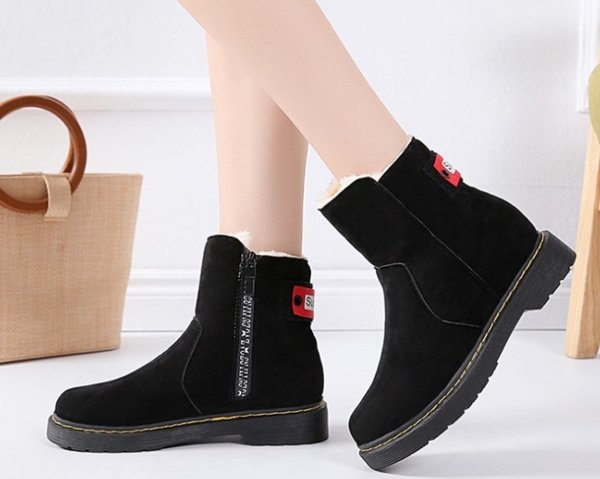 Otoño e invierno cremallera lateral además de botas de nieve de algodón cálido Mujer casual anti tacón de Taiwán de tacón bajo botas cortas botas de mujer