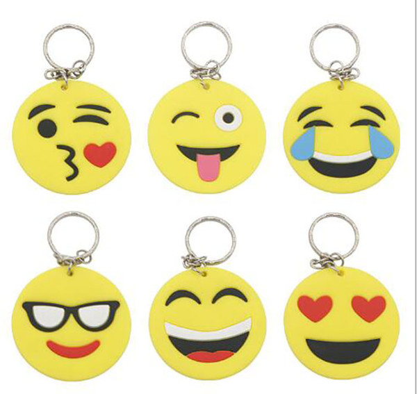 hot sale 2018 QQ Emoji Key Chains Small Keychain Emotion Yellow QQ Expression Stuffed PVC Doll Toy 6 design emoji pvc keyring