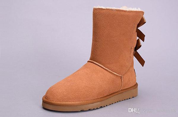 2018 hiver Australie Bottes de neige de haute qualité WGG de haute qualité en cuir véritable Bailey bowknot bailey bow femme bottes au genou chaussures