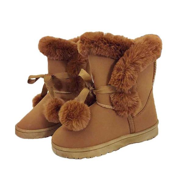 d961cfaafc0 Botas de nieve de piel genuina Botas de pelo para mujer Botas de mujer de  alta
