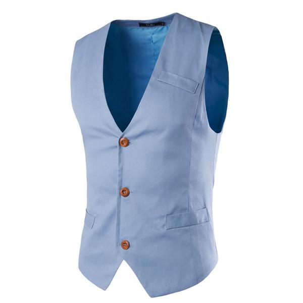 New style 2017 New Brand Sleeveless Vest Men Casual Slim Fit Chaleco Hombre Cotton Suit Vest Solid Mens Suit YH365