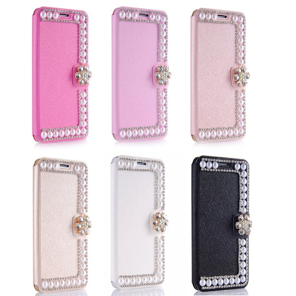 for iPhone x 6 7 8 Plus Luxury Diamond Pearl Wallet Flip Case Cover for  Samsung 2c72cf88cd