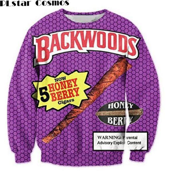 PLstar Cosmos Backwoods Honig Berry Crewneck Sweatshirts Frauen / Männer Casual Hoodies Lustige Lebensmittel 3D Print Pullover