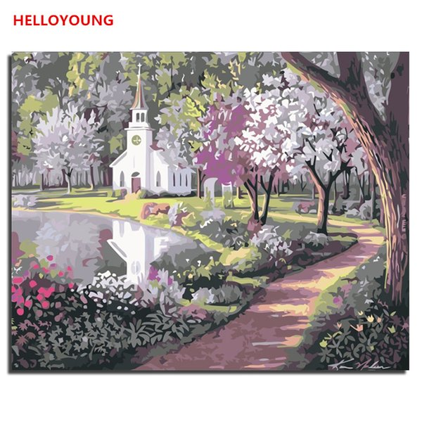 HELLOYOUNG DIY Handpainted Oil Painting Park Digital Painting by numbers oil paintings chinese scroll paintings Home Decor