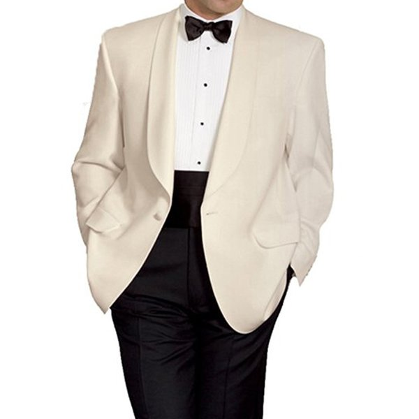2018 Classic Style Men Suits Shawl Lapel Two Piece Wedding Groom Tuxedos One Button Ivory Jacket Black Pants