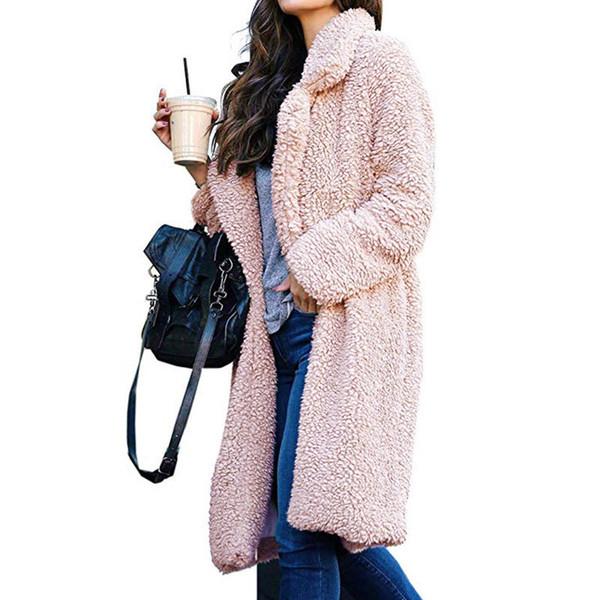 Ladies Sherpa Long Coats Capes Faux Fur Collar Cashmere Sweater Jacket OL overcoat winter windbraker warm snow Sweatshirt Outerwear 2019 new