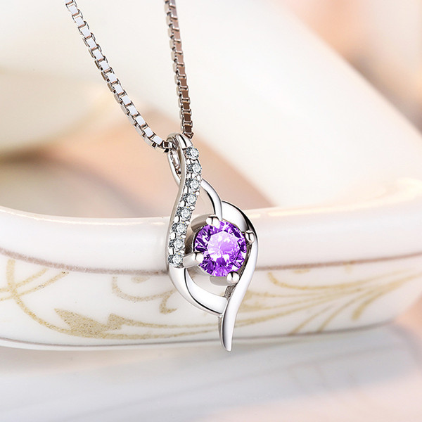 S925 Silver Necklace Woman Day Korean Student Personality Clavicle Chain Love Pendant Silver Ornaments