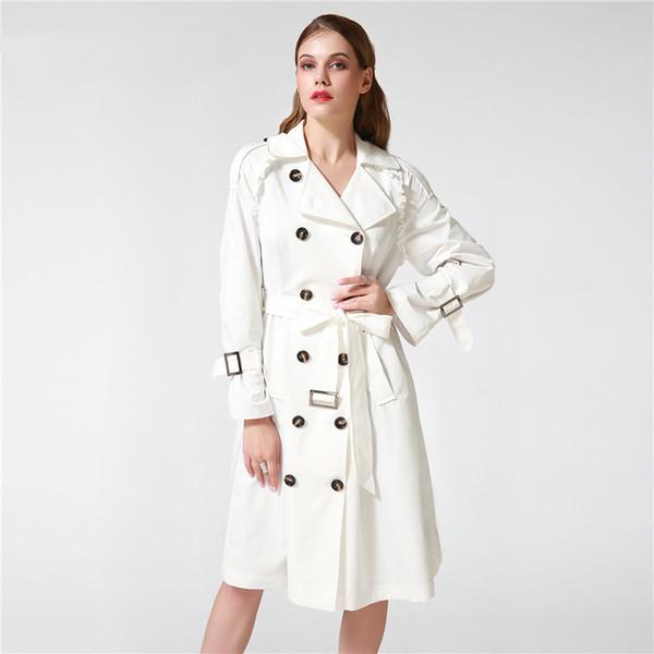 Blanc Coat Taille Noir Manteau Du De35 Plus Pour Mince Tranchée 18 Réglable Femmes Automne La Hiver Acheter Longue Femelle Survêtement Taille Trench bvYgf76y