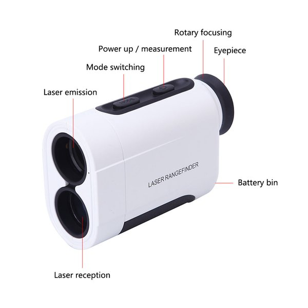 50pcs Handheld 5-600m Monocular Laser Rangefinder Telescope Distance Meter Range Finder Golf Hunting Distance Measurement Tool
