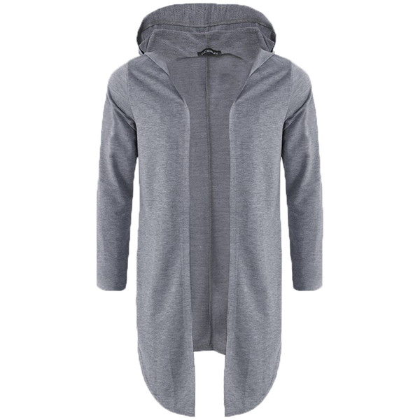 2018 Autumn Men Hoodies Long Mantle Sweatshirt Fashion Long Sleeve Hooded Hip-hop Casual Streetwear Male Cloak Coat Jacket S-3XL