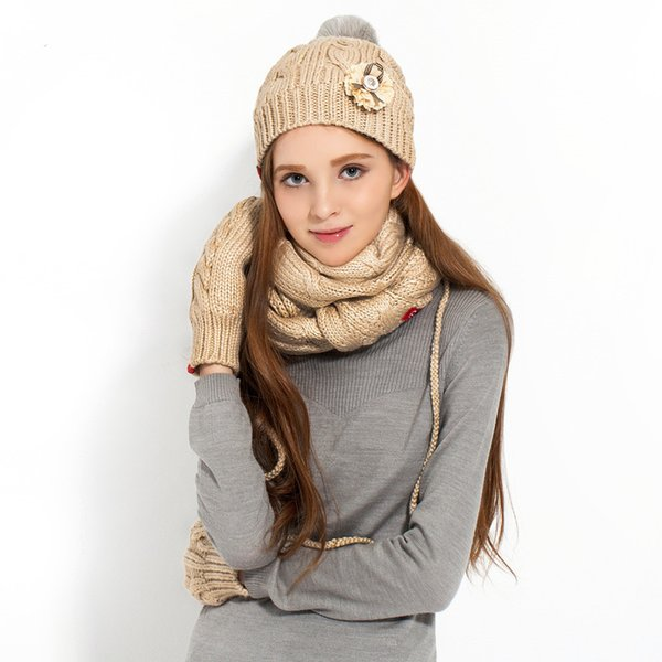 2017 New Special Offer Women Adult Wool Winter Thermal Cute Women's Yarn Paragraph Thickening Hat Scarf Gloves Three Pieces Set