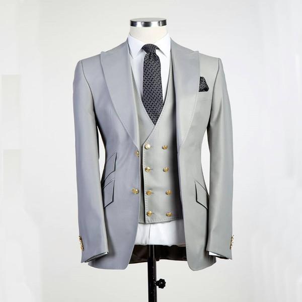 Big Pesked Lapel Noivo Smoking Gery blazer como Groomsman Terno Custom Made Homem Terno de Casamento terno (Jaqueta + calça + colete)