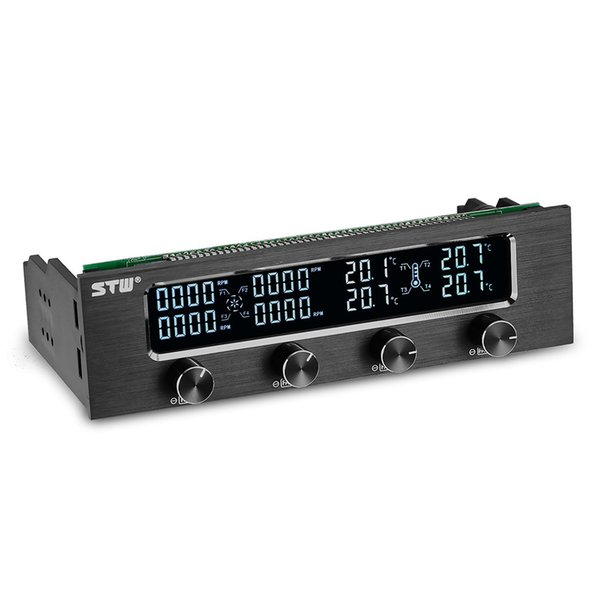 Wholesale-High Quality STW Pc 5.25 Inch Drive Bay Full Brushed Aluminum 4 Channel PWM Fan Controller with LCD Screen