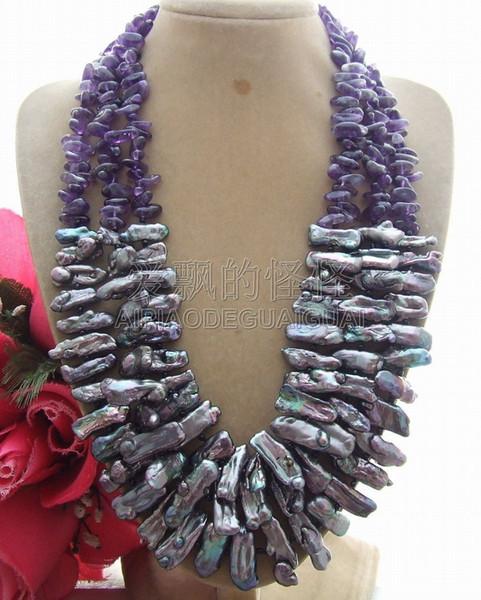 N051102 3Strands black white gray Biwa Pearl Stone Gems Fancy Necklace