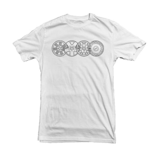 Men O-Neck Free Shipping High Quality Hot Sell Alloy Wheels Men's Car T-Shirt - White S M L XL XXL