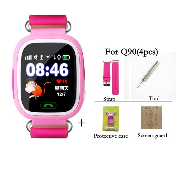 Q90 Bluetooth Smartwatch with GPS WiFi LBS for iPhone IOS Android Smart Phone Wear Clock Wearable Device Smart Watch 3 Colors DHL shipping