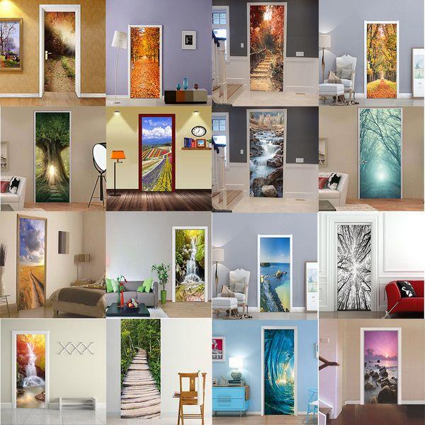 60 arten Kreative 3D Kunst Tür Aufkleber Kühlschrank Abziehbilder Selbstklebende Wandhauptdekore DIY Wandaufkleber FFA418