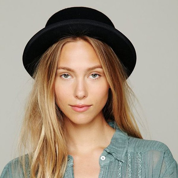 Brand New Wool канотье Flat Top Hat для женщин ', S Войлок Wide Брим Fedora Hat Laday Прок Pie Chapeu De Фельтро Bowler Gambler Top Hat
