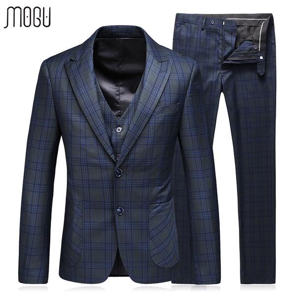 MOGU Lattice Three Pieces Slim Fit Party Dress 2017 Autumn New Fashion Plaid Wedding Men Suit Costume Asian Size 5XL Men's Suit