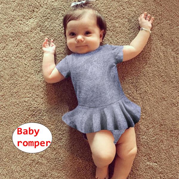 INS Baby einfarbig Romper Neugeborenes Mädchen Kurzarm Overall Infant Sommer Playsuit 4 Größe für 3-18M