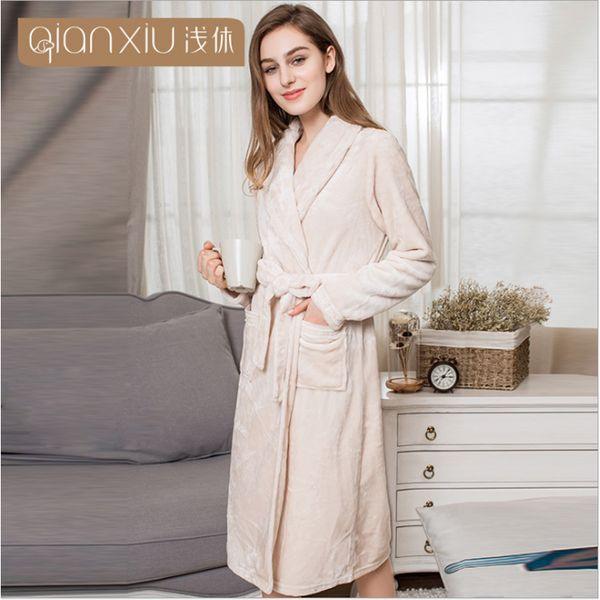 2017 Winter Brand Bathrobes Women Warm Coral fleece Robes Ladies turn-down collar Plus Size thicken Robes Female lace Gown