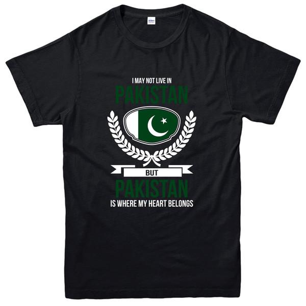 T-Shirt Pakistan, Il mio cuore appartiene al Pakistan Country Love Tee T-shirt da uomo stile street top tessuto in cotone di alta qualità