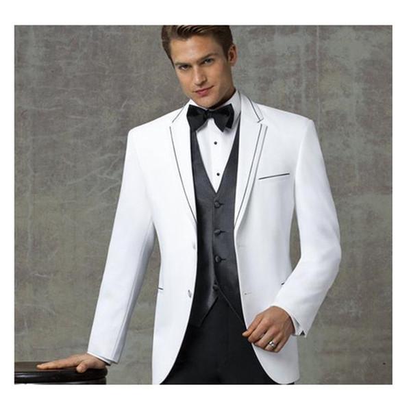 Notched Lapel Wedding Suits Grooms Tuxedos Three Piece Slim Fit Men Suits Groomsmen Suit (Jacket+Pants+Vest+bow tie)