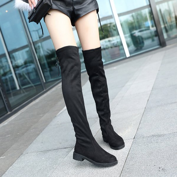 2018 High Boots Female Winter Boots Women Over the Knee Flat Stretch Sexy Fashion Shoes 2018 Black new riding 35-39