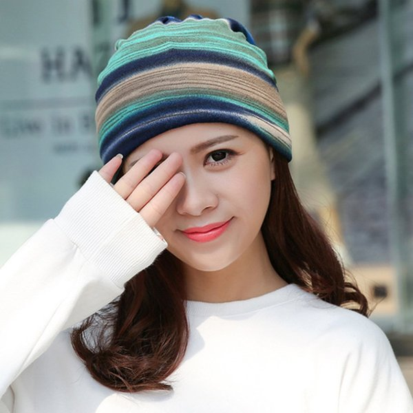 d7a219cbff1dc5 Winter Turban Hat Women Winter Beanie Dual Purpose Hat/Scarf Thick Warm  Stocking Hat Female