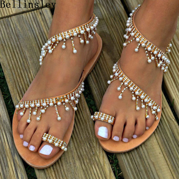 2019 Woman Sandals Women Shoes Rhinestone String Bead Gladiator Flat Sandals Crystal Chaussure Sandalias Plus Size 35-43