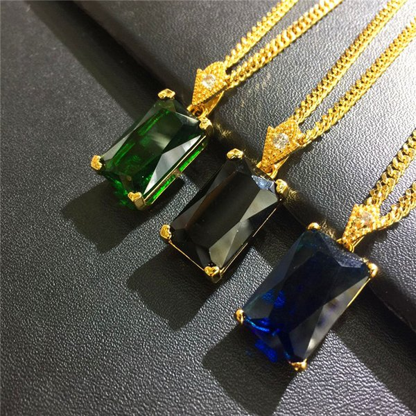 Trendy Charm Gem Square Pendant Necklaces for Men Women Fashion Green Blue Black Crystal Design 18k Gold Plated Chain Hip Hop Jewelry