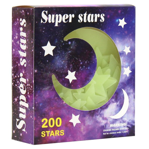 Super Star Glow In The Dark Stars Moon Wall Sticker 3D DIY Home Decal Art Luminous Wall Stickers For Baby Kids Bedroom Decor