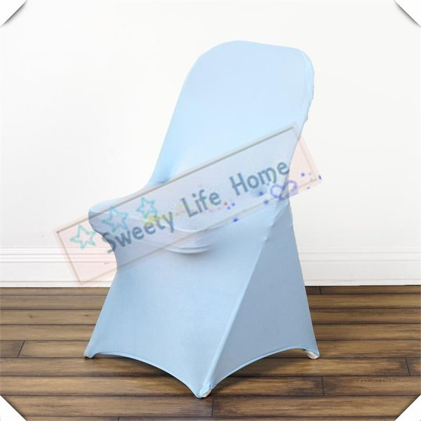 Wedding Folding spandex chair covers Free shipping Fold Chair Covers Baby blue Lycra Chair seats For Party events