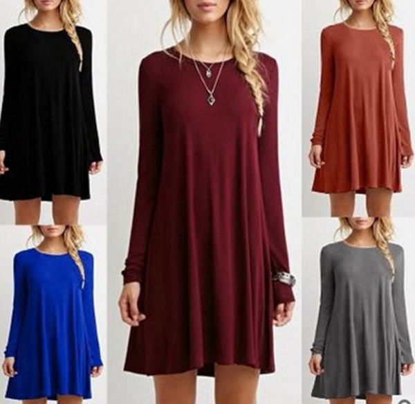Hot sale women's fashion stylish collar full circle swing dress retro long sleeve dress 14 colors plus size S-5XL
